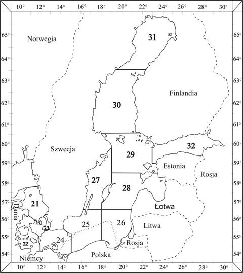 Mapa Bałtyku z podziałem na podobszary statystyczne ICES i wyszczególnieniem polskich obszarów morskich (POM)