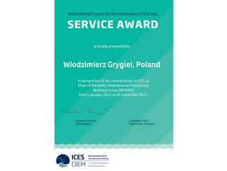 Award for long-term cooperation with ICES