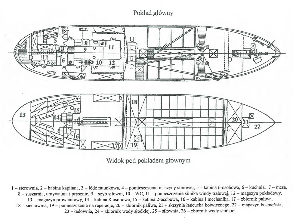 Pokład główny lugotrawlera typu B-11 Birkut