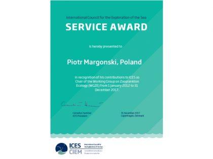 ICES Service Award dla dr. Piotra Margońskiego z MIR-PIB